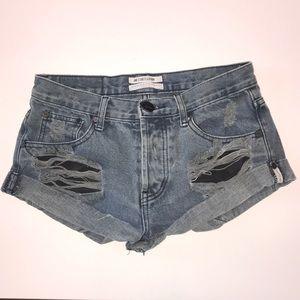 One teaspoon distressed bandits jean shorts sz 24